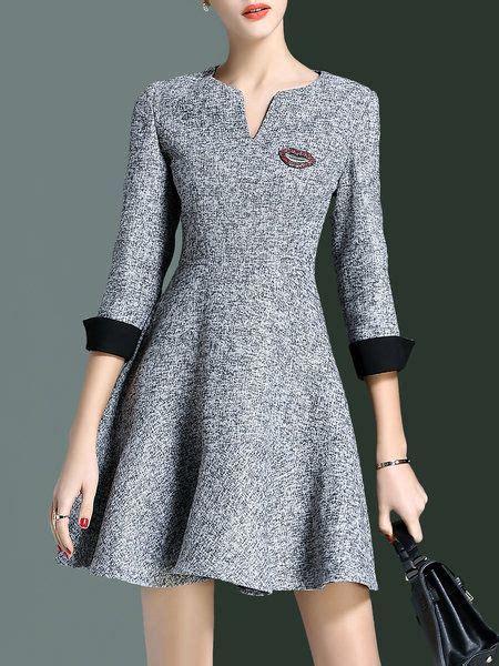 Sleeve A Line Mini Dress simple a line v neck 3 4 sleeve mini dress