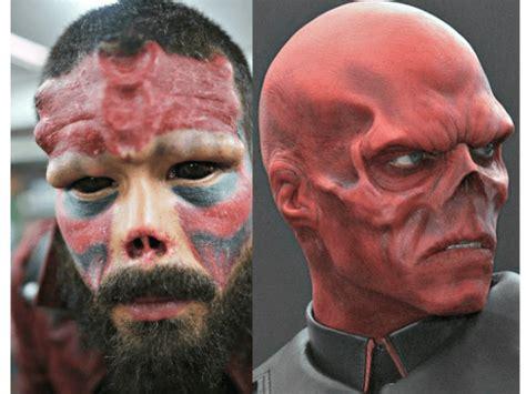 tattoo eyeball guy man cuts off nose tattoos face to look like marvel villain