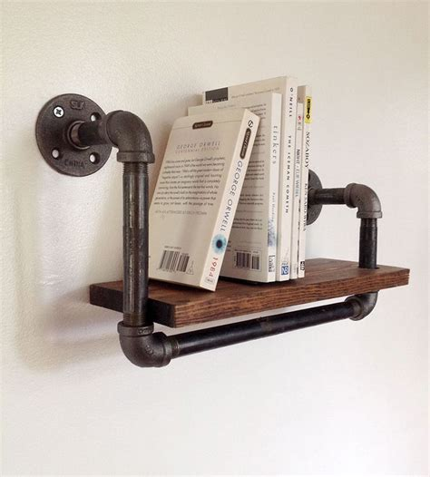 reclaimed wood pipe book shelf small industrial