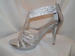 s silver strappy prom wedding dress sandal heel shoe