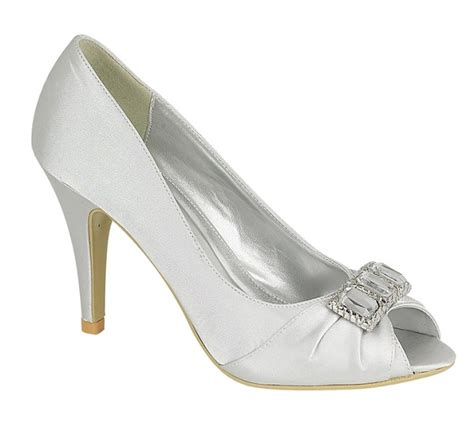Silver Satin Wedding Shoes by S30114 Silver Satin Shoes With Diamante Trim Wedding