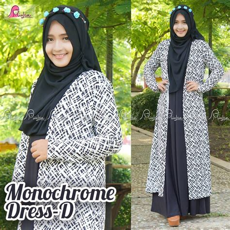 Monochrome Dress By Miulan gamis monocrome d pusat modern