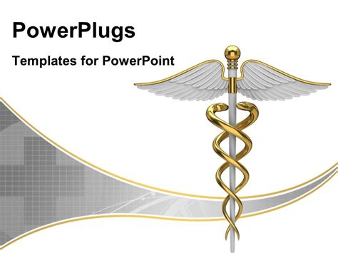 medical symbol powerpoint templates powerpoint template golden caduceus medical symbol with