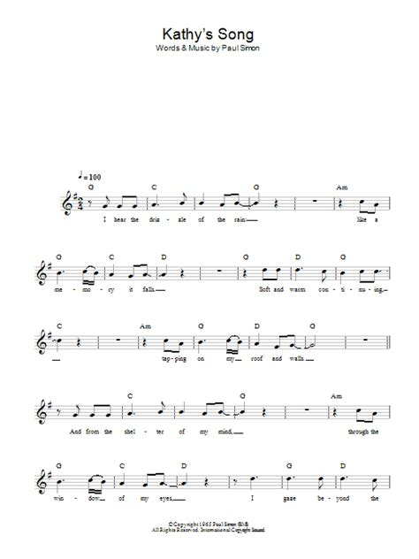 guitar tutorial kathy s song kathy s song sheet music direct