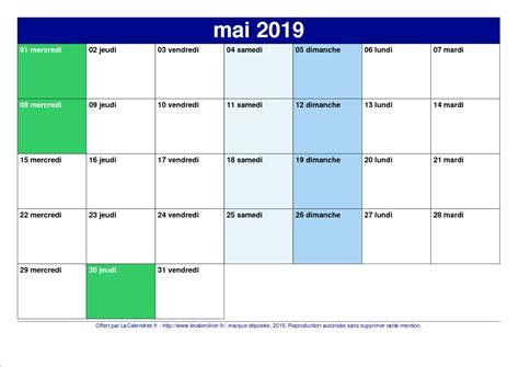 Calendrier Vacances Scolaires 2019 Calendrier 2019 Pdf