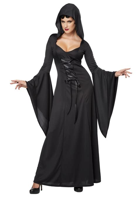 black costume s hooded black lace up robe