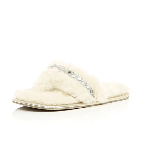 island slippers river island faux fur embellished slippers in