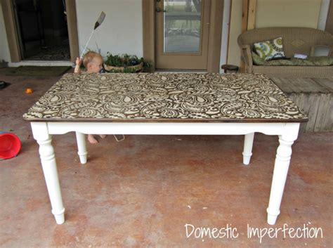 stained table top painted legs awesome paisley stenciled table domestic imperfection