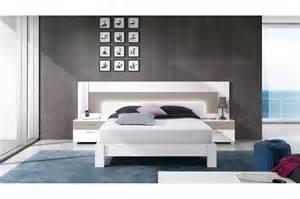 lit moderne 2 personnes blanc et basalte trendymobilier
