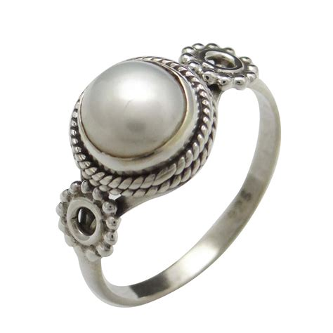 Sterling Silver Handcrafted Jewelry - pearl 925 sterling silver ring band handcrafted