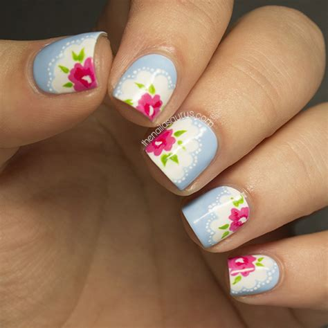 flower pattern on nails 31dc2013 day 14 flowers the nailasaurus uk nail art blog