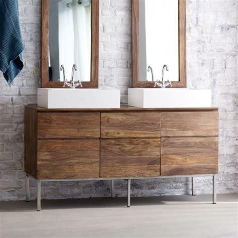 Formidable Plan Vasque Bois Salle De Bain #5: meuble-double-vasque-bois-massif-naturel-piètement-métal-mat.jpg