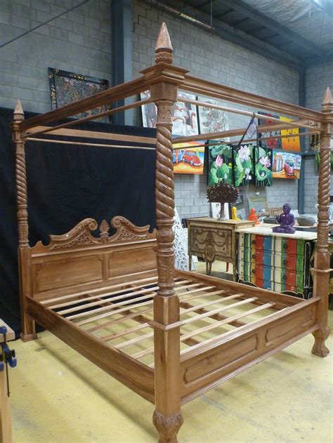 balinese teak wood hand carved  poster bed king size