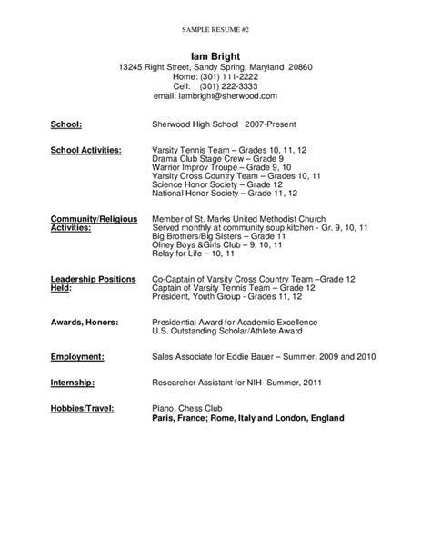 Resume Summary Exles High School Graduate Sle Resume For High School Graduate Free