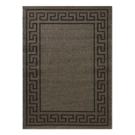 black key rug faux key indoor outdoor rug brown black williams sonoma