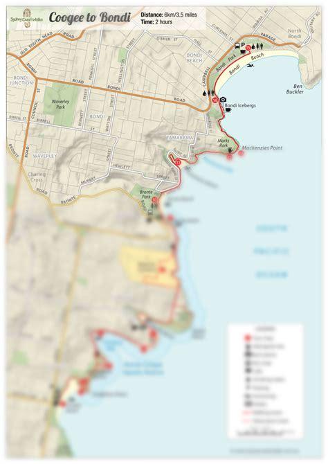 walking maps bondi to coogee walk map pdf sydney coast walks