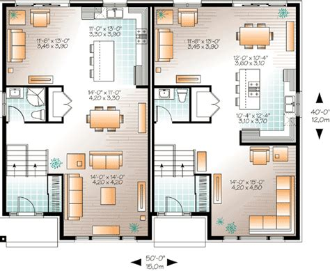 semi detached floor plans contemporary semi detached multi family house plan