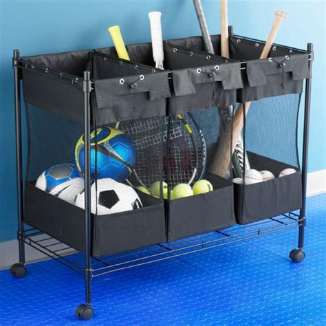 sports organizer for garage storage bins sports equipment and the container on