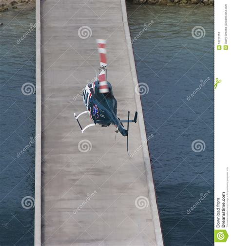 pier medical medical helicopter landing on pier stock photo image