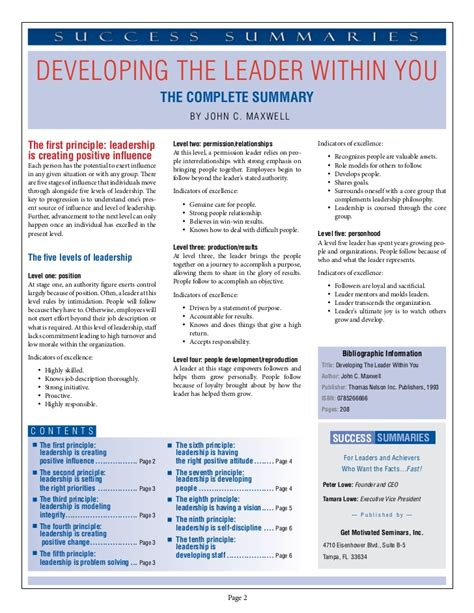 Pdf Developing The Leader Within You Sparknotes by Developing The Leader Within