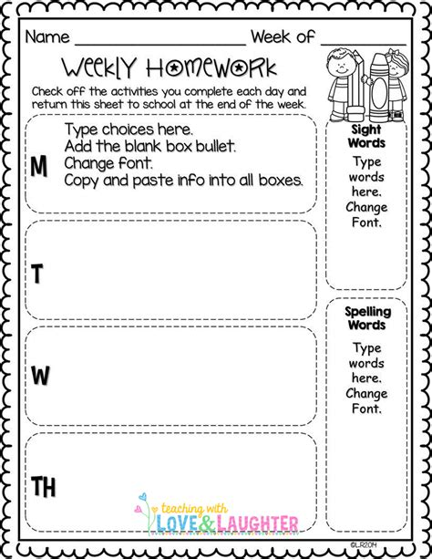 weekly homework template editable weekly homework checklists compatible with