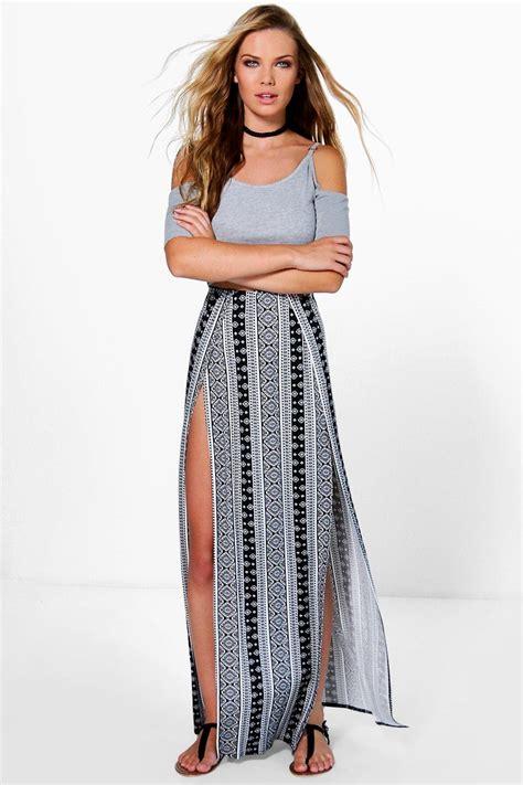 samara monochrome thigh high split maxi skirt at boohoo