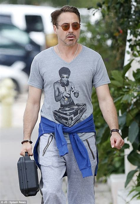 Wing chun fan Robert Downey Jr. proudly sports a new funky Bruce Lee T shirt   Daily Mail Online