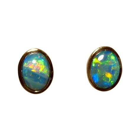 green opal earrings opal stud earrings 14k gold oval green opal earrings