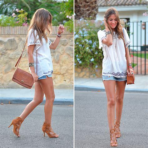 Helena Embro helena cueva choies blouse mango shorts choies heels
