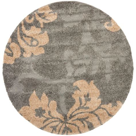 4 Foot Area Rugs Safavieh Florida Shag Gray Beige 4 Ft X 4 Ft Round Area