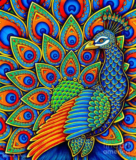 colorful drawings colorful paisley peacock drawing by wang