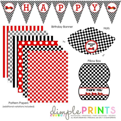 printable cars birthday decorations race car deluxe printable party package race car party