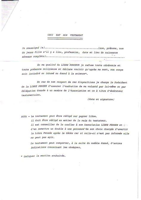 Modeles De Lettre Testament Modele Testament Notaire Document