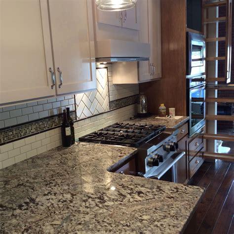 kitchen granite backsplash custom kitchen with lennon granite countertops subway tile and glass mosaic back splash corner