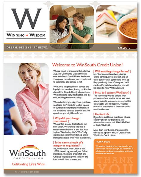 Credit Union Newsletter Branding Beyond Community Winsouth Repositions Its Identity