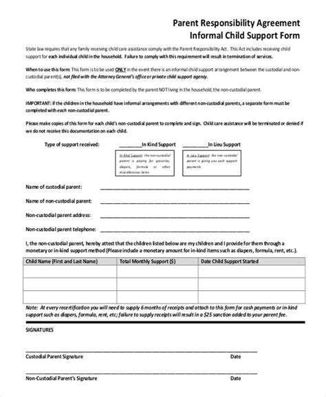 template for child support agreement 10 child support agreement templates pdf doc free