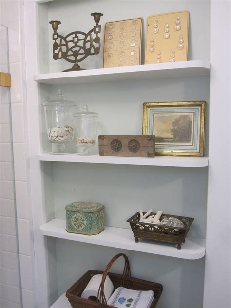 white recessed bathroom shelves for small bathroom storage