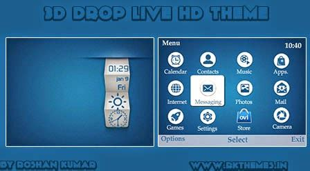 Hp Nokia C3 Dan X2 3d drop live hd theme for nokia c3 00 x2 01 asha 200 201 205 210 302 320 215 240 devices