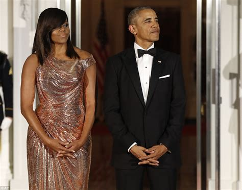 michelle obama gowns michelle obama wears versace gown at barack s last state