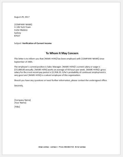income verification letter tenant income verification forms letters word excel