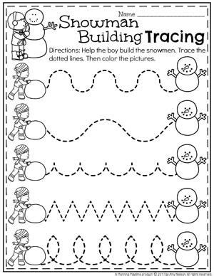 theme line winter snowman activities for preschool preschool tracing