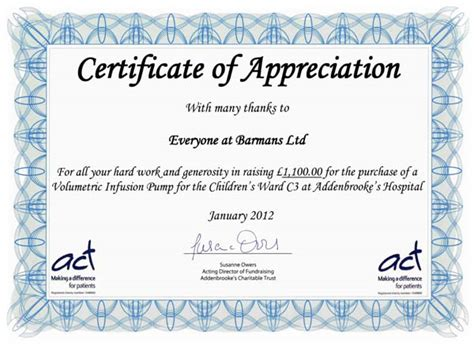 sle of certificate of appreciation barmans ltd s charity work drinkstuff