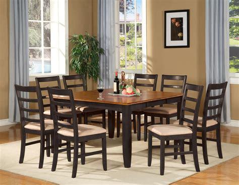 Square Dining Room Table For 8 With Leaf 9 Pc Square Dinette Dining Room Table Set And 8 Chairs Ebay
