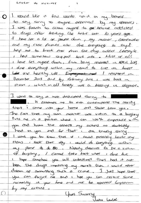 Heartfelt Apology Letter To Justin Lawler Burglar S Heartfelt Letter Of Apology To Victims Mirror