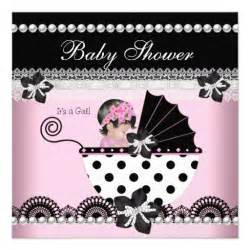 baby shower baby pink black pearl invites zazzle