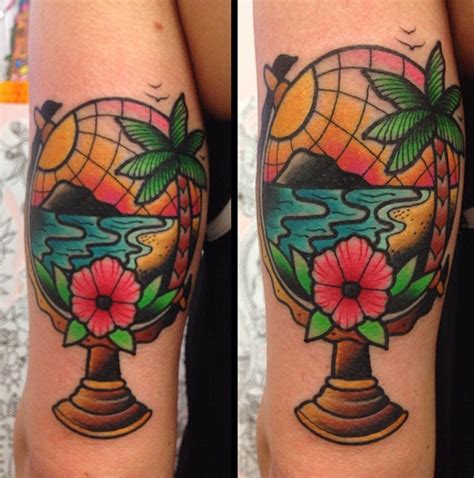 traditional globe tattoo globe the official for things ink