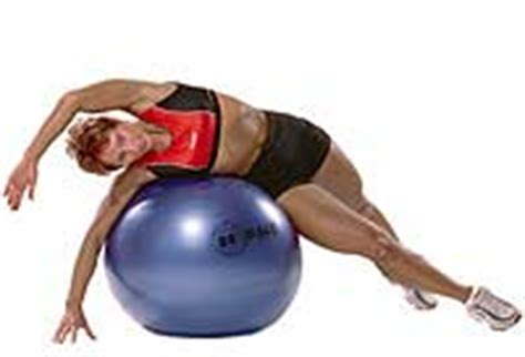 side lying abdominal stretch  swiss exercise ball