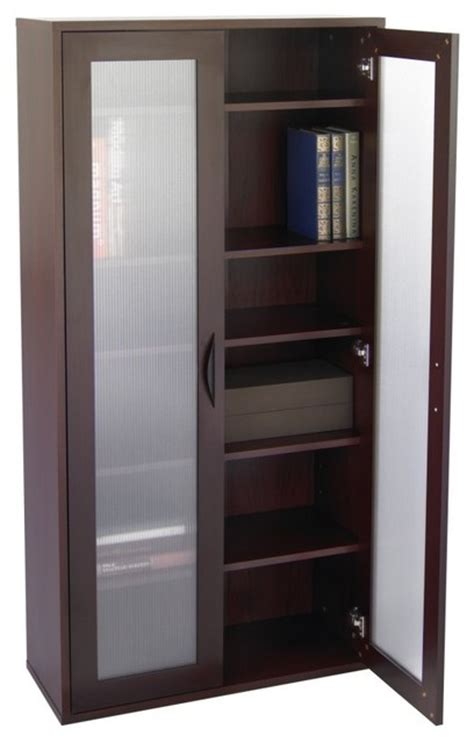 Modern Bookcase With Doors Storage Bookcase With Glass Doors Mahogany Modern Bookcases By Hayneedle