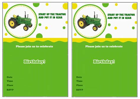 free printable john deere thank you cards john deere free printable birthday party invitations