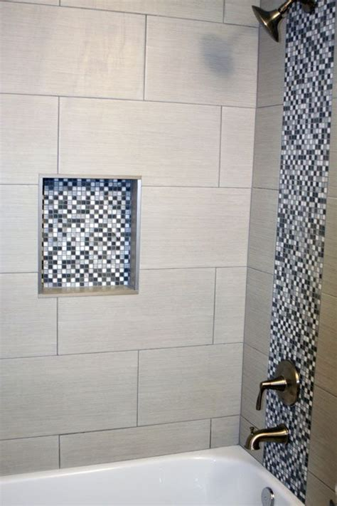 12x24 tile shower bathroom shower with gray and white square mosaic and 12
